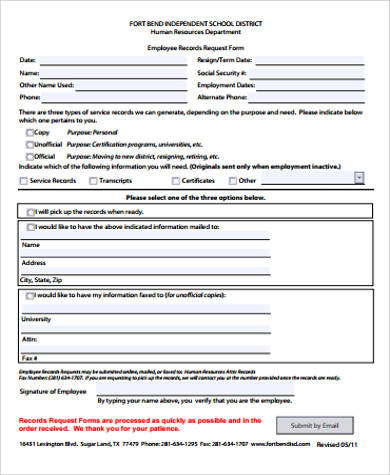 employee records form