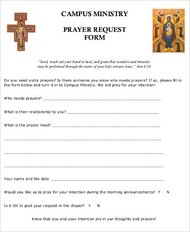 Sample Prayer Request Form   Examples In Word Pdf