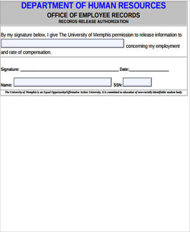 employee record release form