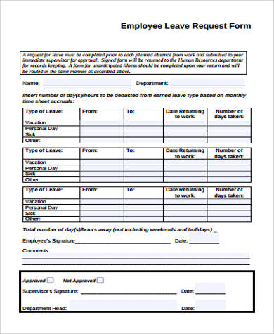 9+ Sample Employee Leave Forms | Sample Templates