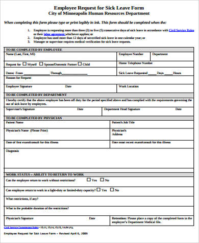 Nice Employee Sick Leave Form Example  Example Of Leave Form