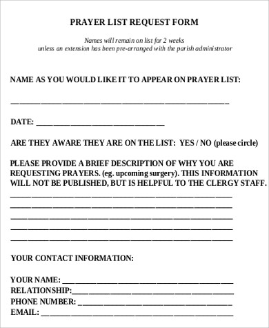 prayer list request form free