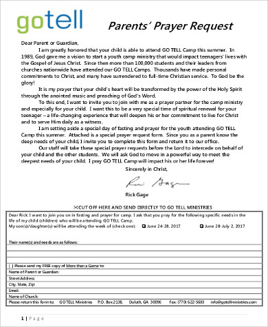 Sample Prayer Request Form - 10+ Examples in Word, PDF