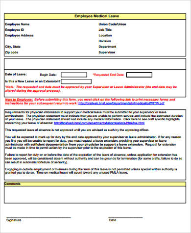Sample Employee Leave Form   Examples In Word Pdf