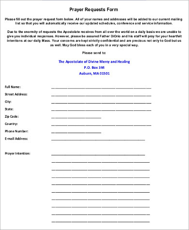 blank prayer request form