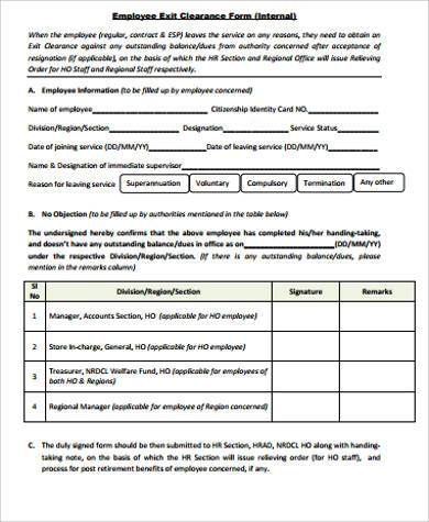 Sample Employee Form. Sample Employee Exit Clearance Form Sample