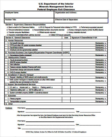 Sample Employee Clearance Form   Examples In Word Pdf