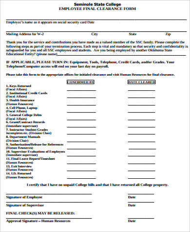 employee final clearance form