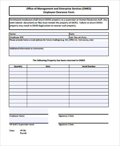 simple employee clearance form
