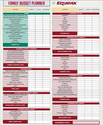 family budget planner pdf