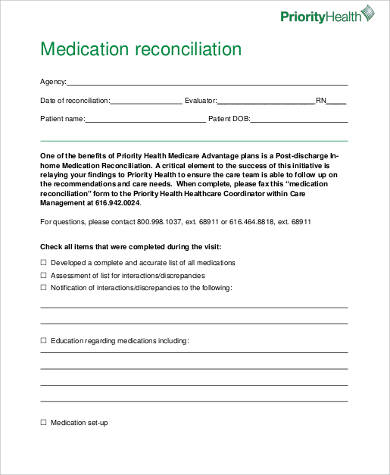 8+ Sample Medication Reconciliation Forms | Sample Templates