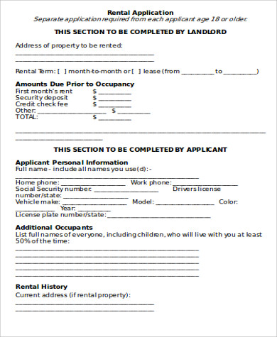 Sample Rental Application  Free Sample Example Format Download