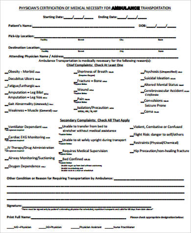 Sample Medical Necessity Form - 9+ Examples In Word, Pdf