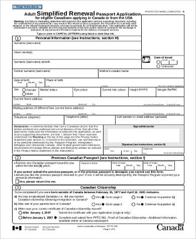 Sample Passport Renewal Application Form   Examples In Word Pdf