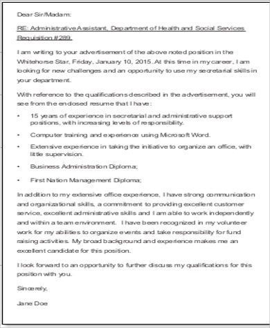 cover letter of application sample