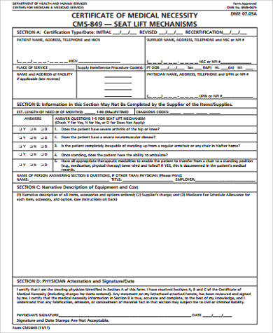certificate of medical necessity form