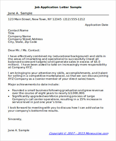 letter of application sample for job