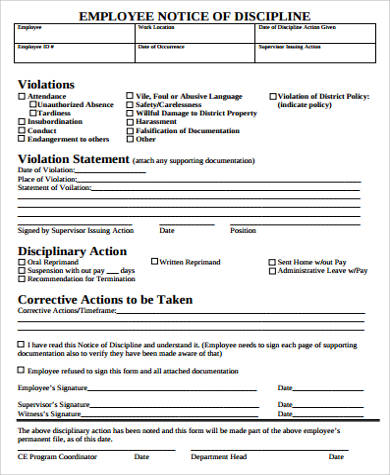 Sample Employee Notice Form - 8+ Examples In Word, Pdf