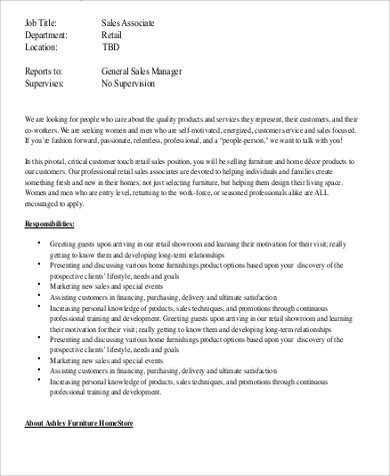 sample retail sales associate job description