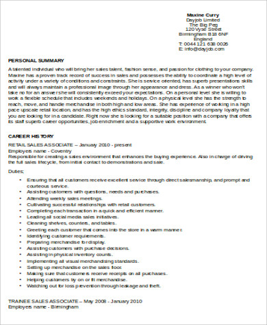 senior retail associate job description