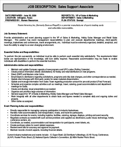 retail support associate job description