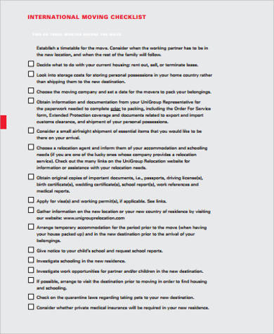 printable international moving checklist