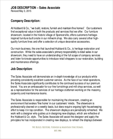 Retail Associate Job Description Sample   Examples In Word