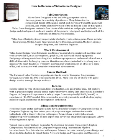 Video Game Designer Job Description Samples  Examples In Word Pdf