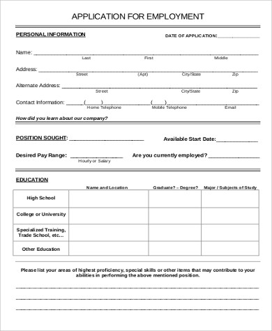 Attractive Free Printable Job Application Form