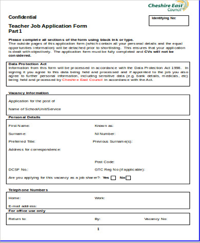 Free Job Application Sample   Examples In Word Pdf