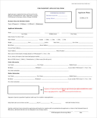 Official Passport Renewal Application Form