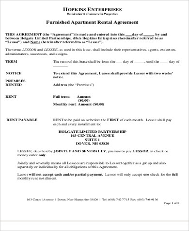 Furnished Apartment Rental Agreement Sample