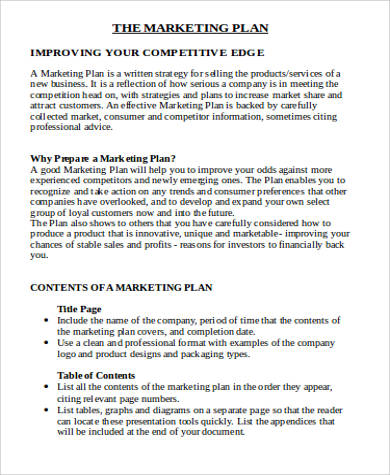 Sample Marketing Plan Template Word   Examples In Word Pdf