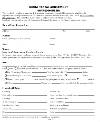 Room Rental Agreement Sample