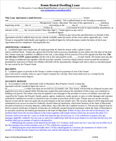Room For Rent Contract   Examples In Word Pdf