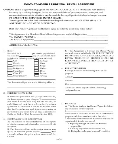 month to month room rental agreement doc