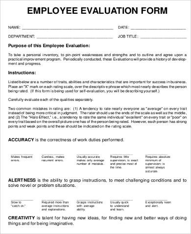 employee feedback evaluation form