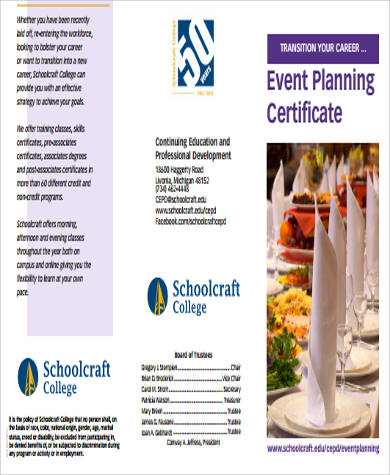 Sample Event Planning Certificate   Examples In Word Pdf