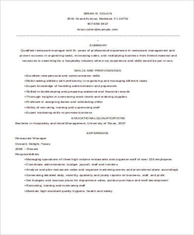 restaurant general manager description sle 6