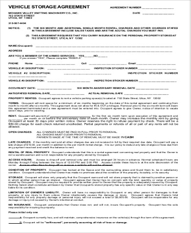 Storage Lease Agreement Template Trattorialeondoro - Vehicle storage agreement template