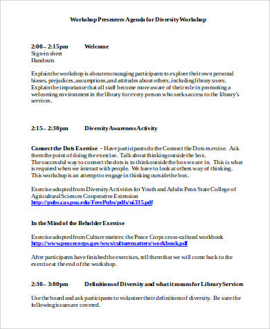 agenda for diversity workshop