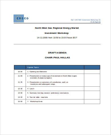 draft agenda for workshop