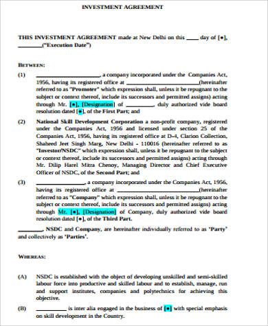 Sample Investment Agreement - 10+ Examples in Word, PDF