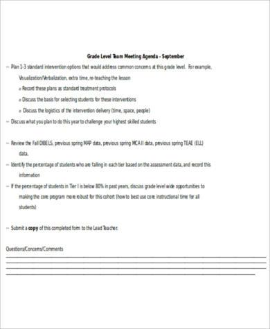 team agenda format
