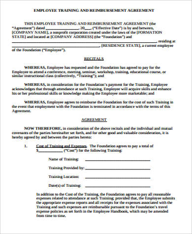 sample employee training agreement