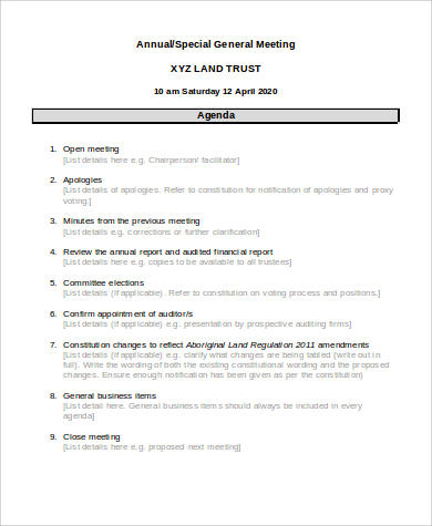 sample meeting agenda format