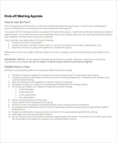 kick off meeting agenda