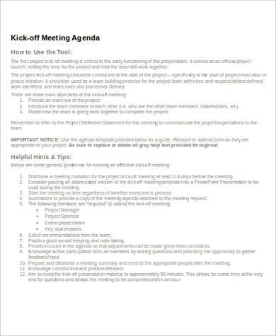 kick off meeting agenda