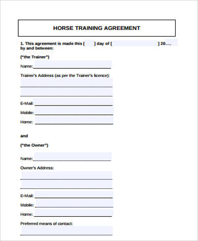horse training agreement
