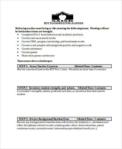 rti team meeting agenda